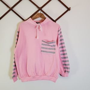 Vintage Pink Funnel Neck Striped Accent Sweater